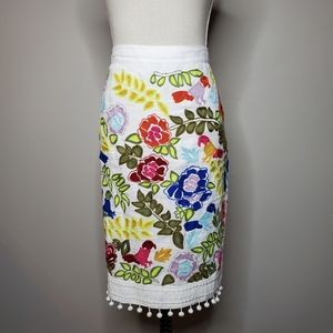 Anthropologie La Fiesta Embroidered Linen Skirt